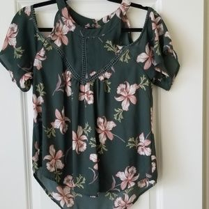 Over the shoulder floral blouse